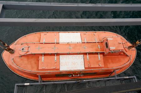 subsea: Stavanger, Norway - July 26, 2015:  Red emergency boat in Norwegian Petroleum Museum. Fjord - Boknafjord, county Rogaland region Vestlandet.