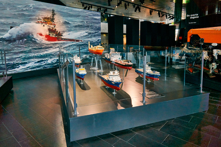 subsea: Stavanger, Norway - July 26, 2015:  Models of the most famous ships in the oil history subsea equipment in Norwegian Petroleum Museum. Fjord - Boknafjord, county Rogaland region Vestlandet.