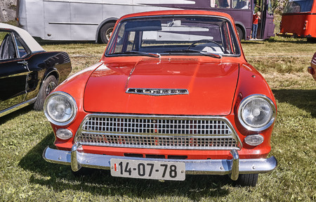 Froya island, Norway - 24 July 2016: Front of the Ford Consul at cars show in norwegian Islanders Classic Car Club - Kysttreffet 2016.  Island in the Atlantic Ocean and Norwegian fjord.