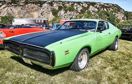 islanders: Froya island, Norway - 24 July 2016: Side of the classic car in black and green  at cars show in norwegian Islanders Classic Car Club - Kysttreffet 2016.  Island in the Atlantic Ocean and Norwegian fjord. Editorial