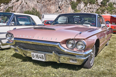 islanders: Froya island, Norway - 24 July 2016: Side of the classic Ford Thunderbird at cars show in norwegian Islanders Classic Car Club - Kysttreffet 2016.  Island in the Atlantic Ocean and Norwegian fjord.