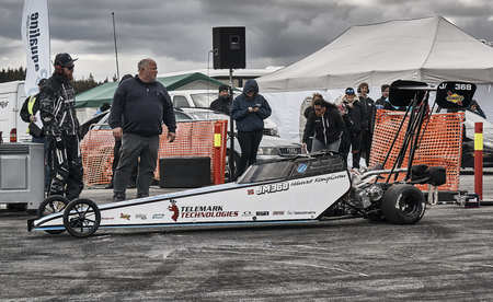 Froya, Norway, 24 June 2016: Car at the start of the race. Norwegian high-skill motor sport  competitions and demonstration of fast cars drifting in Norway. Cars drifting, burning out, sliding, cars driving fast. Island in the Atlantic Ocean and Norwegian Editorial