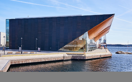 kristiansand: Kristiansand, Norway - April 6, 2015: Theater and concert hall on small island name-  Odderoya in Kristiansand, Norway. Arts Centre, Concert Hall, Europe, Norway, 2011, ALA Architect