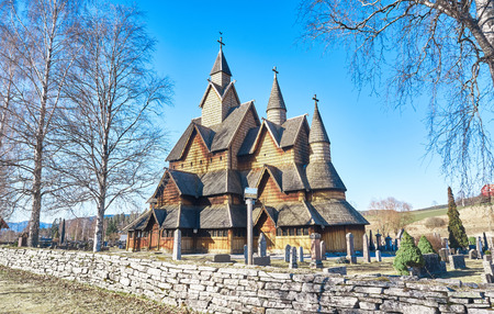 pagan cross: The old Heddal stave church in Telemark, Norway .Stave church is a medieval wooden Christian church building. Editorial
