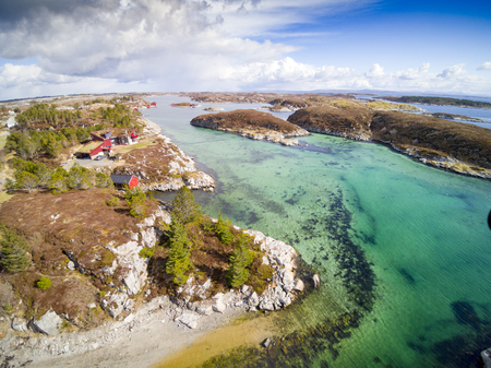Daloya, Norway - April 14, 2017: Aerial view from flying drone.