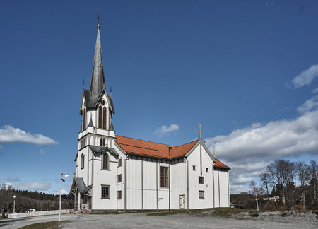 Bamble, Norway -  April 3, 2015:  Large wooden structure dedicated in 1845. Church has a large cross flanked by two altarpieces, Editorial