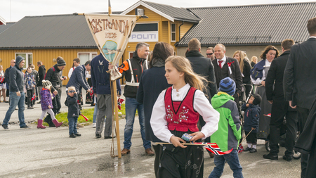 Siholmen Froya, Norway - May 17, 2016: A public holiday in Norway. Norwegians at traditional celebration and parade.