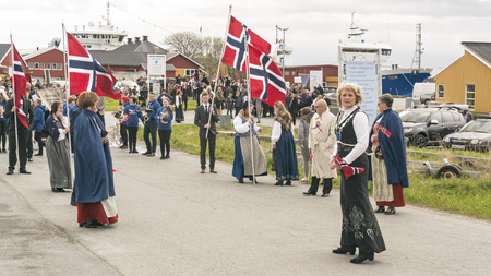 Siholmen Froya, Norway - May 17, 2016: A public holiday in Norway. Norwegians at traditional celebration and parade. Froya Mayor Berit Flamo.