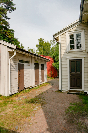 Kristiansand, Norway -  July 24, 2015:  Kristiansand museum, southern Norway's largest historical museum. The open-air museum at Kongsgard consists of 34 old houses in three areas: Bygade, Setesdal yard and Vest-Agder yard Editorial