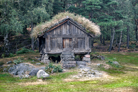 Kristiansand, Norway -  July 24, 2015:  Stabbur a building on a farm for storing food. Kristiansand museum, southern Norway's largest historical museum.