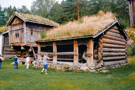 Kristiansand, Norway -  July 24, 2015:  Kristiansand museum, southern Norways largest historical museum. The open-air museum at Kongsgard consists of 34 old houses in three areas: Bygade, Setesdal yard and Vest-Agder yard Editorial