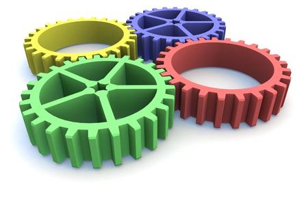 four 3d cog wheels photo