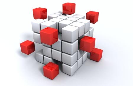 cubo: 3d cubo rojo y blanco Foto de archivo