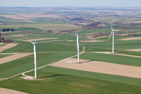 wind turbines aerial view  photo