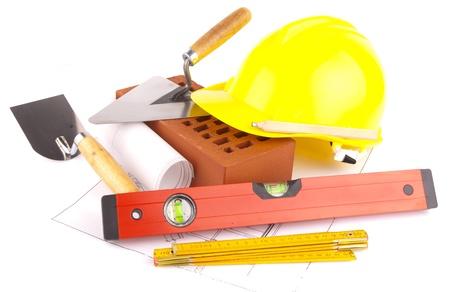 Mattoni, utensili e piani di costruzione Archivio Fotografico - 13615469