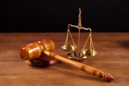 judge gavel and scales Archivio Fotografico