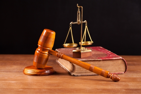 judge gavel and scales Stock Photo