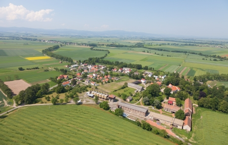 aerial view of village landscape with clouds photo