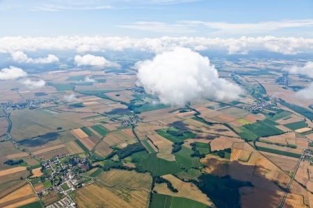 aerial view of village landscape with clouds