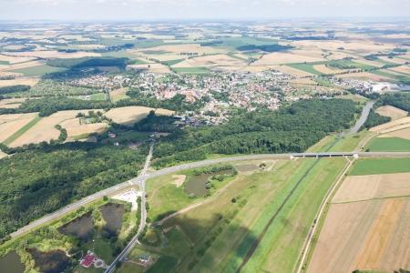 aerial view of village landscape photo