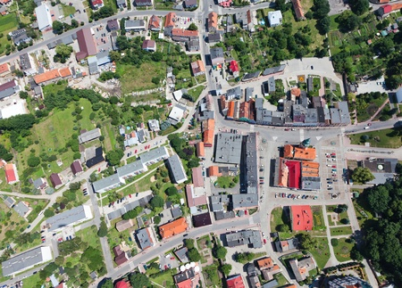 birds eye view: aerial view of Otmuchow city center  Stock Photo