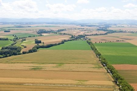 aerial view of village landscape in Poland photo