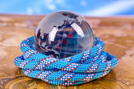 crystal globe and blue rope photo