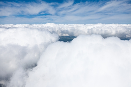 birds eye view: aerial view of  clouds  Stock Photo