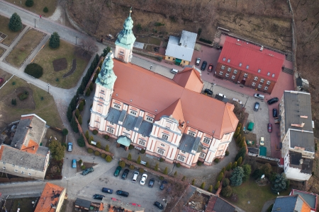 Otmuchow city church aerial view  photo