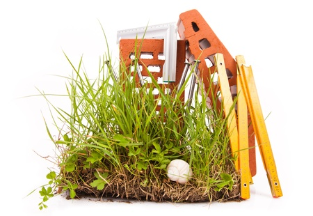 mason tools and green grass  photo