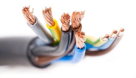 elektricien s apparatuur geïsoleerd op wit Stockfoto