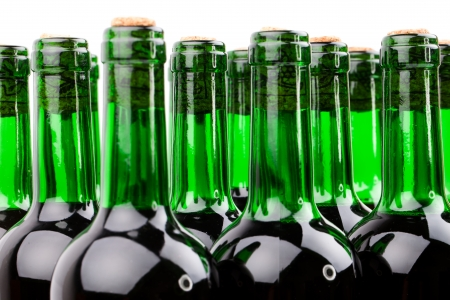 unlabeled: wine bottles on white background