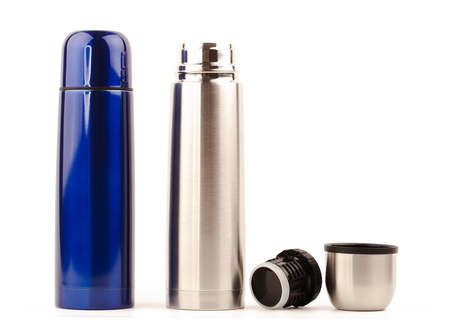 metal thermos isolated on white background
