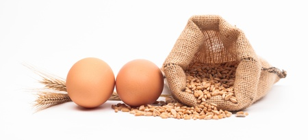 eggs and corn isolated on white background Stock Photo - 18166345