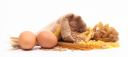eggs and pasta assortment isolated on white background Stock Photo - 18166303