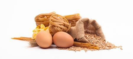 egg and pasta assortment isolated on white background Stock Photo - 18166302