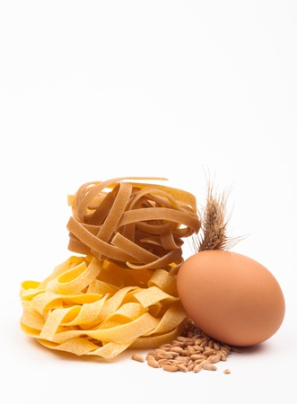 egg and pasta assortment isolated on white background Stock Photo - 18166347