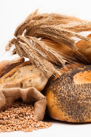 fibers: assortment of baked bread isolated on white background  Stock Photo