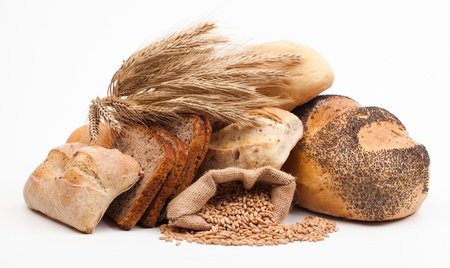 whole food: assortment of baked bread isolated on white background  Stock Photo