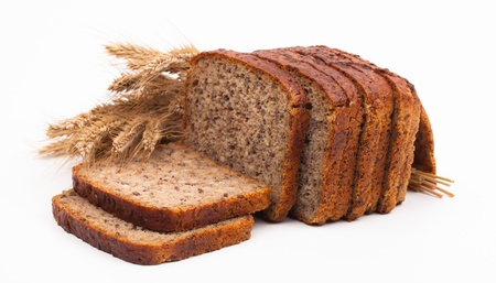 assortment of baked bread isolated on white background  Standard-Bild