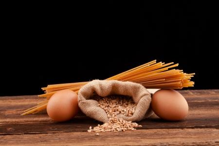 pasta assortment on black background Stock Photo - 18168690