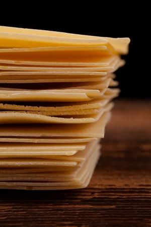 lasagna pasta assortment on black background Stock Photo - 18168670
