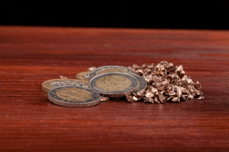euro money  on table and black background photo