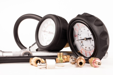 pressure gauges and tools isolated on white Stock Photo - 18426239