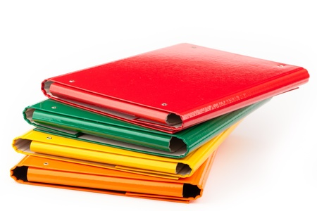 colorful office folders isolated on white Stock Photo - 18426214
