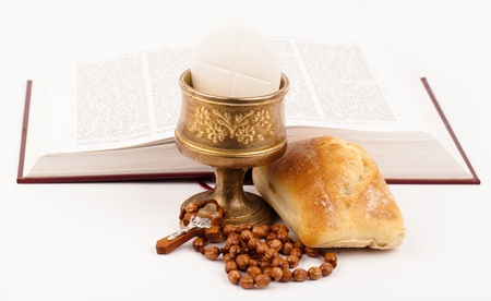 catholic mass: holy bread and book