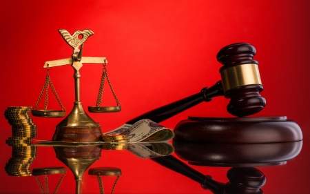 gavel money and scales of justice photo