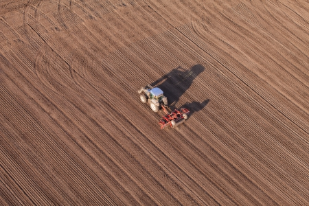 combine harvester: Aerial view of harvest fields with tractor