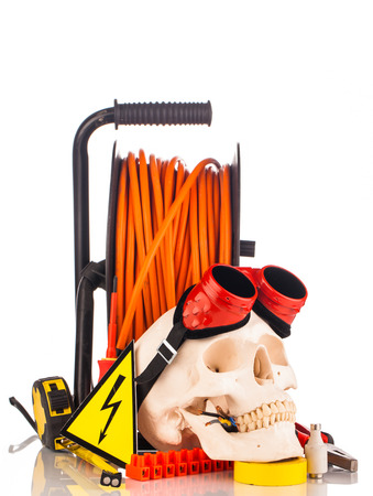 service engineer: human skull and electrician s tools