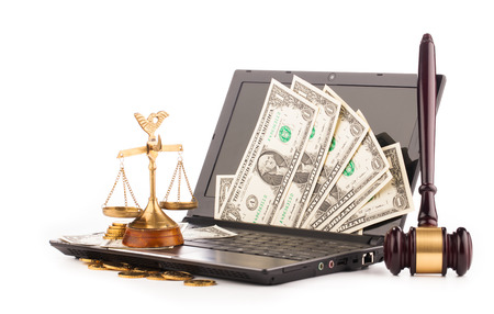 laptop computer keyboard money and gavel  photo